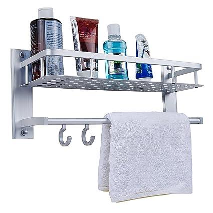 Merveilleux Bath/Kitchen Aluminum Storage Shelf Wall Mount Shower Shelving Towel Bars  With Hooks