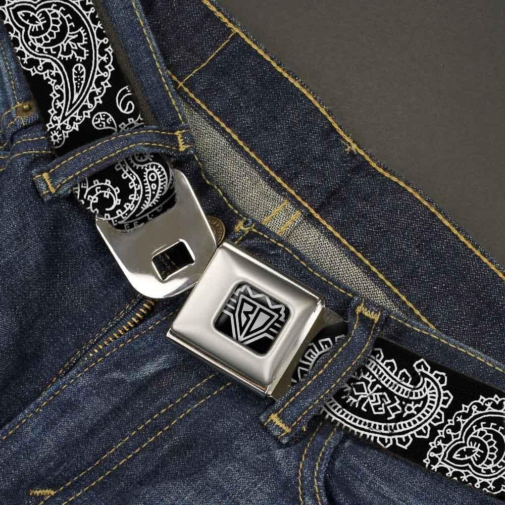 1.5 Wide-32-52 Inches Black//White Buckle-Down Unisex-Adults Seatbelt Belt Paisley XL