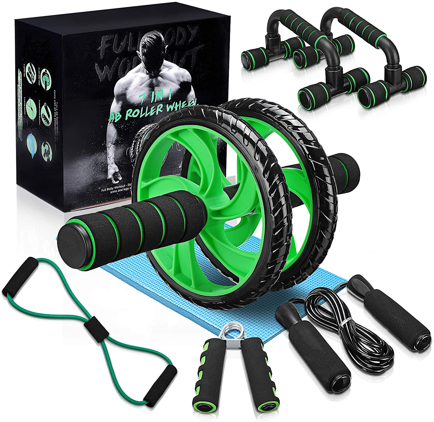 Hand Strengthener and Knee Pad Work Out at Home Kit Skipping Rope Push-Up Bar LYCAON Ab Wheel Roller Set 5 In 1 Includes Ab Wheel Roller