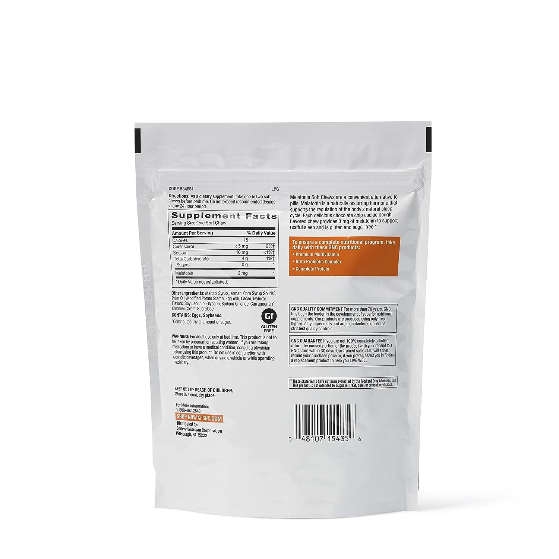 Amazon.com: GNC Melatonin 3mg, Chocolate Chip Cookie Dough, 60 Chews, Supports Restful Sleep: Health & Personal Care