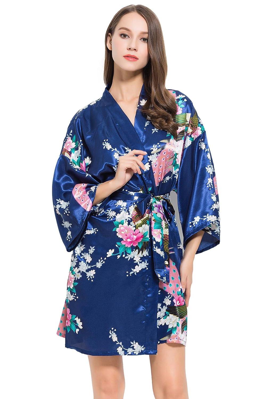... 4 túnicas/kimonos de satén con diseño de pavo real, para despedida de soltera, túnicas de preparación, OSFM, batas de boda para novia y damas de honor. ...