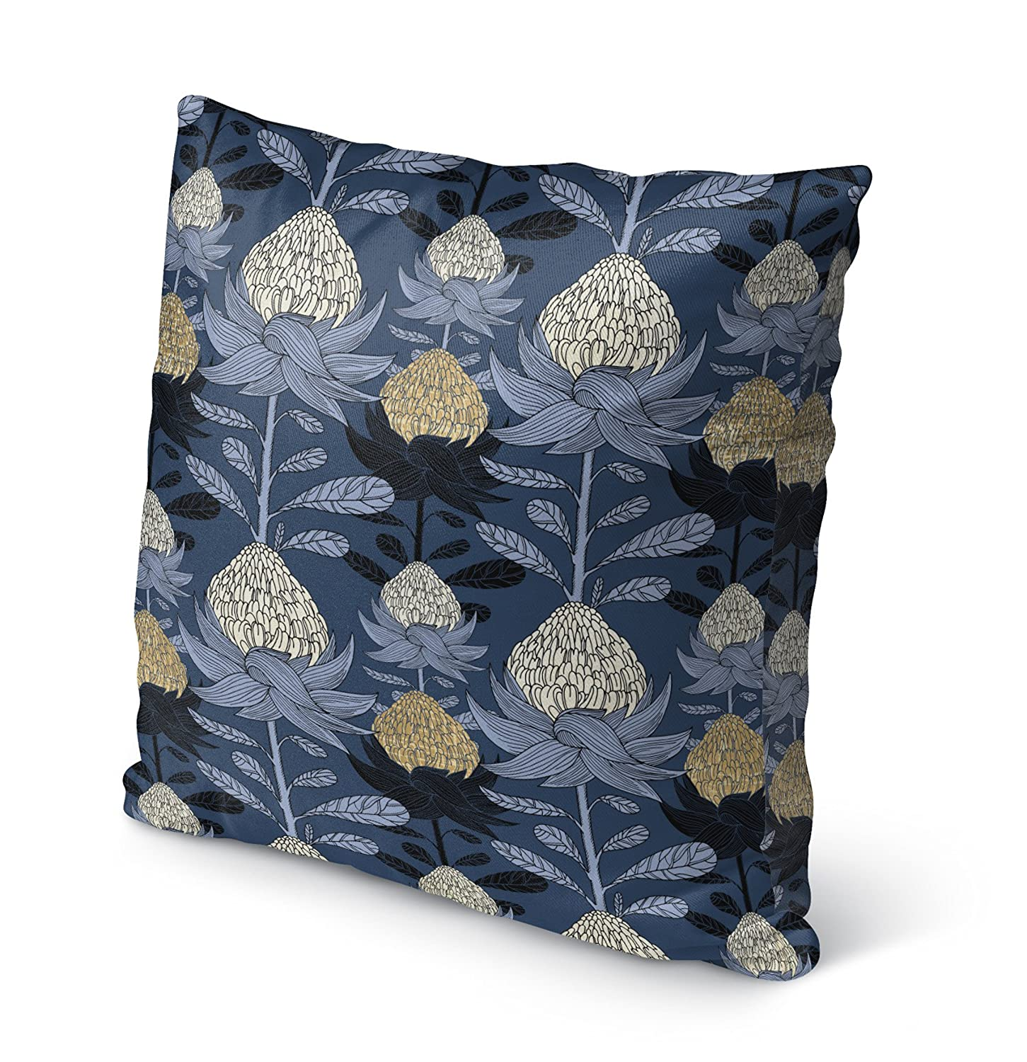 KAVKA Designs Nautical Blossom Indoor-Outdoor Pillow, Blue//Beige - SALTWATER Collection Size: 16X16X6 - TELAVC8142OP16