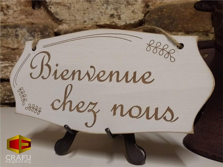 Petit 9,5 x 19 cm Crafu Bienvenue chez Nous Plaque de Porte en Bois Panneau /à Suspendre D/écoration de Maison