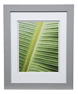 """Gallery Solutions Photo 11x14 Flat Grey Wall Frame with Double White Mat for 8x10 Picture, 11"""" x 14"""", Gray"""