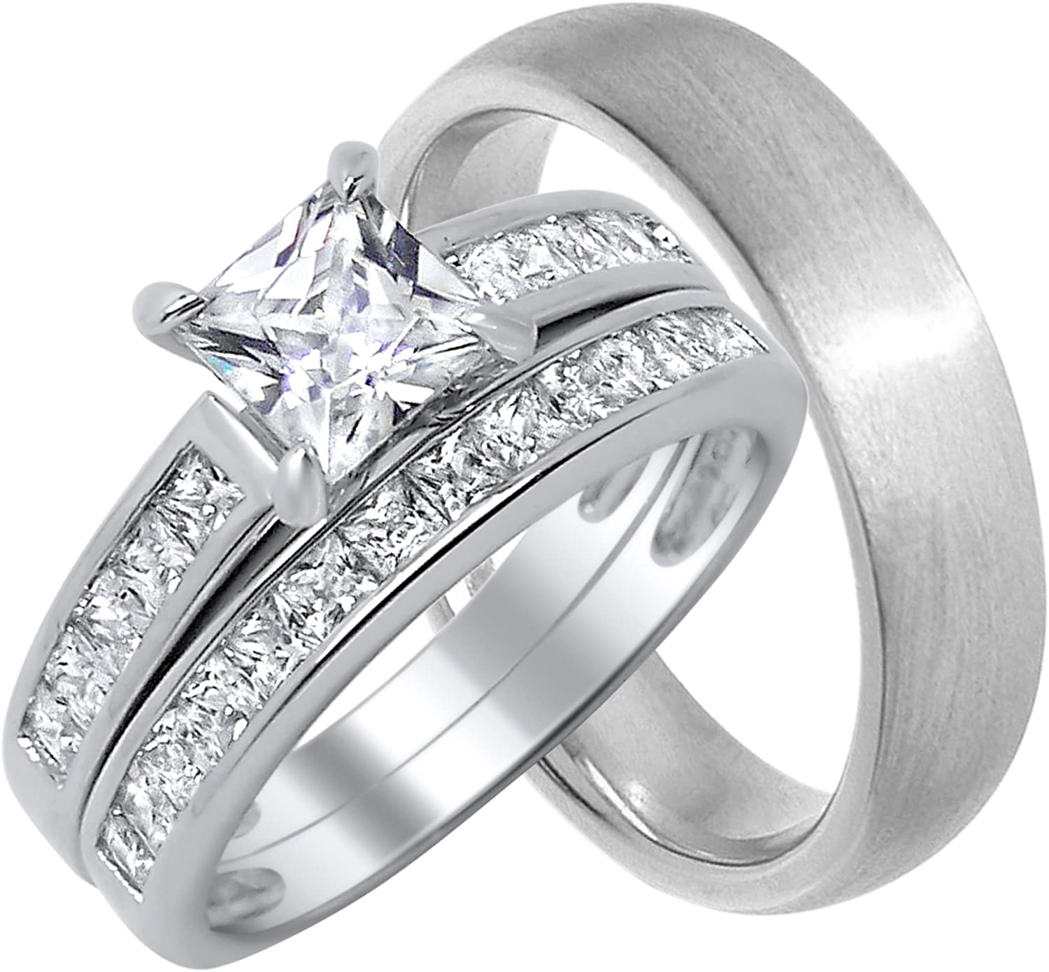 His and Her Wedding Ring Set Matching Bands for Him and Her (Choose Sizes)