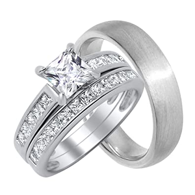 His And Her Wedding Ring Set Matching Bands For Him And Her Choose Sizes