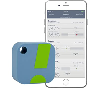 SensorPush Wireless Thermometer / Hygrometer for iPhone / Android -  Humidity & Temperature Smart Sensor with Alerts  App disponible en Français