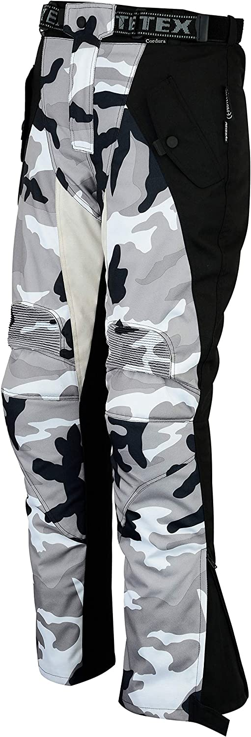 By Texpeed Mens Grey Camouflage Waterproof Protective Motorcycle Trousers