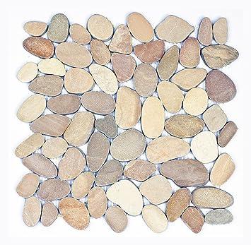 Kieselstein Fliesen k 1 557 1m 11 kieselstein mosaikfliesen geschnitten naturstein
