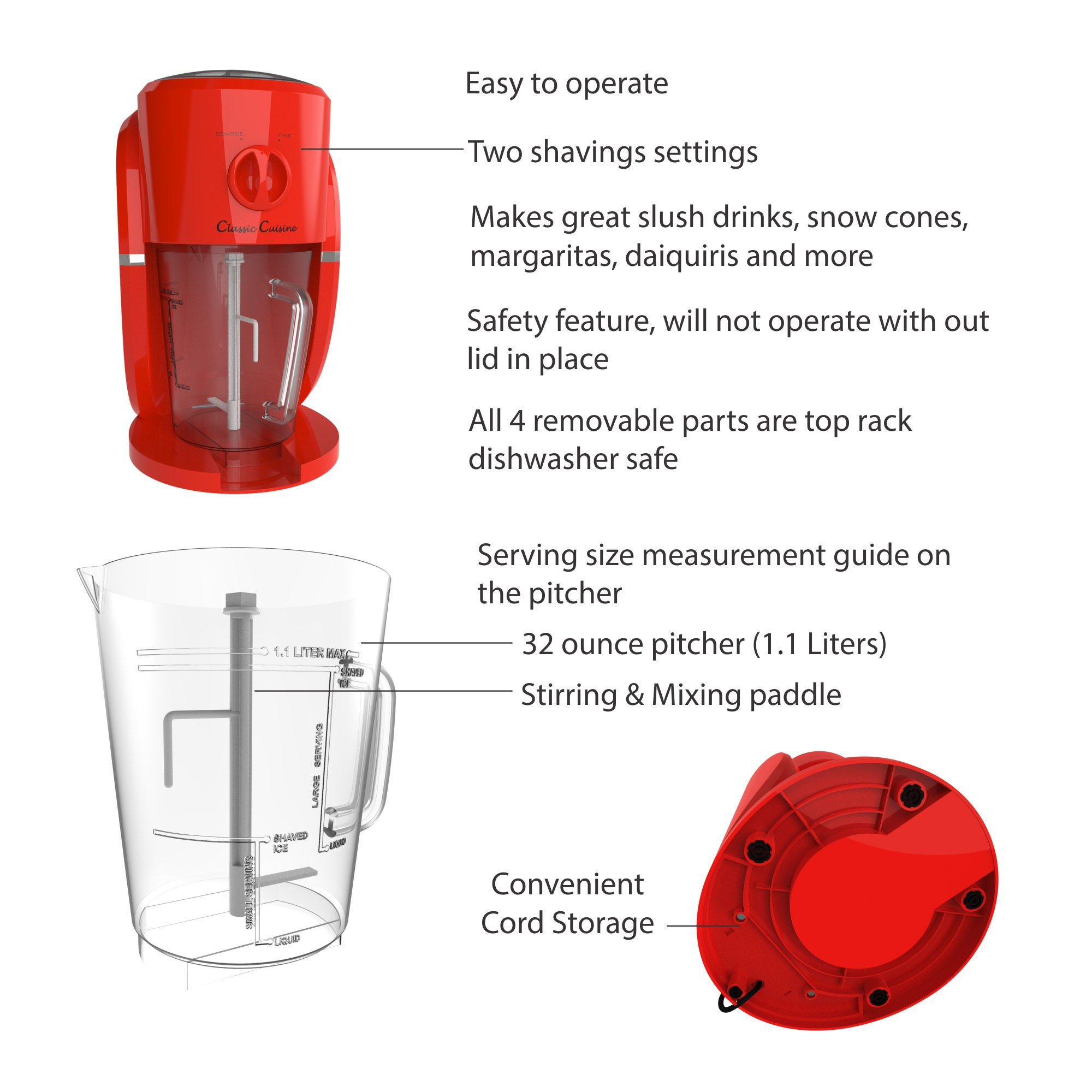 Frozen Drink Maker, Mixer and Ice Crusher Machine for Margaritas, Pina Coladas, Daiquiris, Shaved Ice Treats or Slushy Desserts by Classic Cuisine by Classic Cuisine (Image #2)