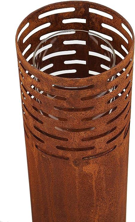 Windlicht Säule Garten Terrasse Deko Kerzenhalter Leuchte Säulen Rost  2er Set