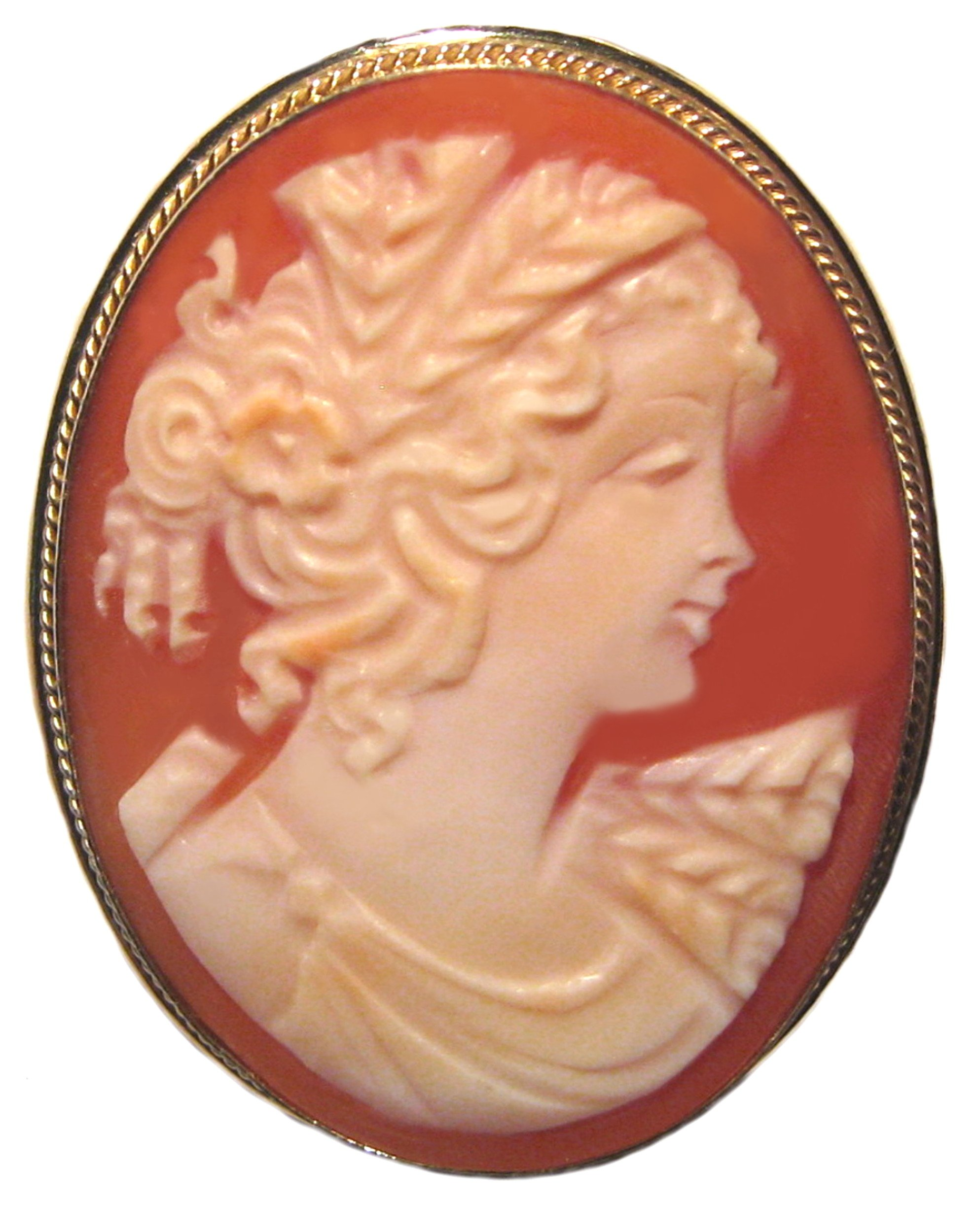 Cameo Brooch Pendant Italian Sterling Silver Master Carved, Conch Shell Summer Love Italian