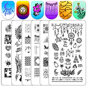 Nail Stamping Plate Stamper Plates - Ejiubas Double-sided Stamping Plates Set 3Pcs Nail Art Stamp Templates Nail Art Design EJB-X17 X18 Blackqueennaildesign