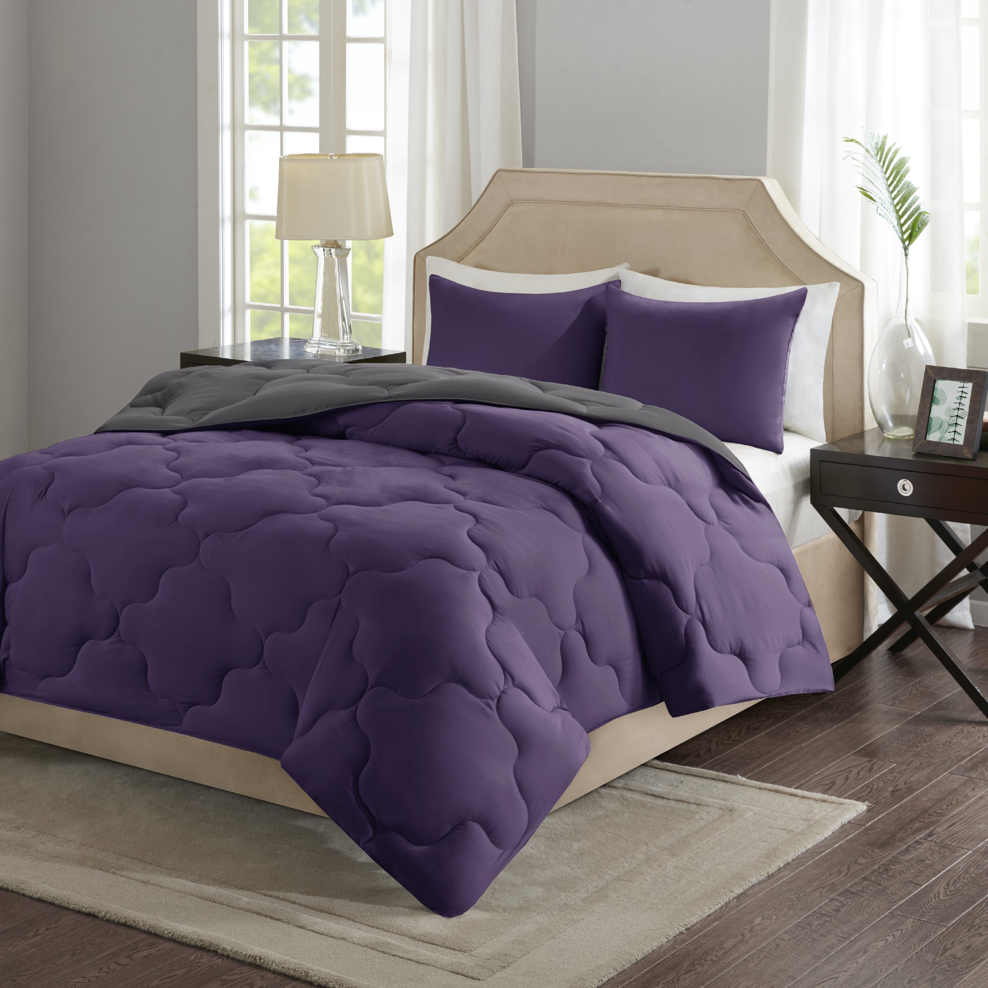 Comfort Spaces – Vixie Reversible Goose Down Alternative Comforter Mini Set - 3 Piece – Purple and Charcoal – Stitched Geometrical Diamond Pattern – Full/Queen size, includes 1 Comforter, 2 Shams
