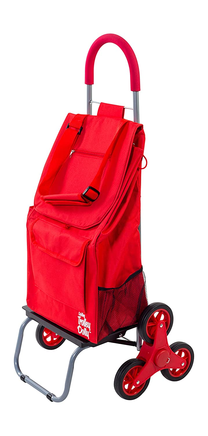 dbest products Stair Climber Trolley Dolly, Red Shopping Grocery Foldable Cart Condo Apartment
