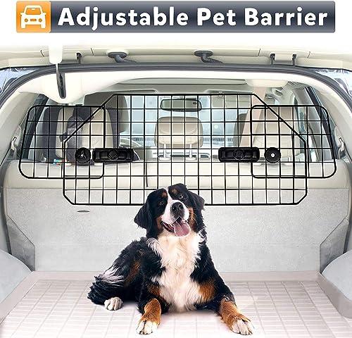 ZenStyle Dog Car Barrier Pet Fence for SUVS, Van, Cargo, Vehicles – Adjustable Pets Car Divider Wire Dog Gate Heavy Duty Dog Divider for SUV