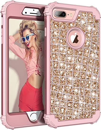 Hekodonk for iPhone 8 Plus/7 Plus Case,3 Layer Luxury Bling Sparkle Shiny Heavy Duty Shockproof Fullbody Protective Impact Hybrid Cover for Apple ...