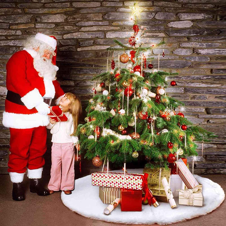 Cleana Arts Premium Faux Sheepskin Christmas Tree Skirt for