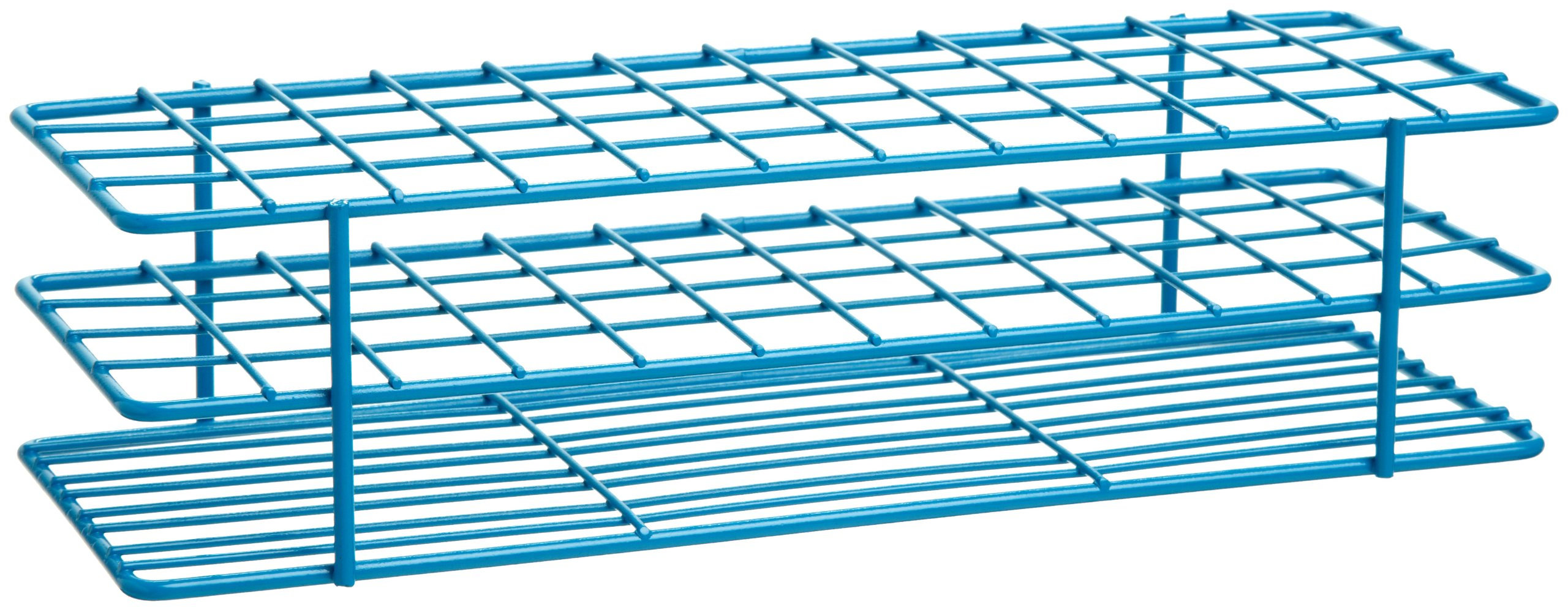 Bel-Art F18755-0001 Poxygrid Test Tube Rack; 13-16mm, 48 Places, 9¹/₂ x 3⁵/₈ x 2¹/₂ in., Blue