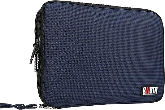 BUBM Organizador de Accesorios Eléctrica Estuche para Guardar Cables Memorias USB Bolsa con Cremallera para iPad Bolso de Doble Capas (L, Azul Marino): Amazon.es: Electrónica