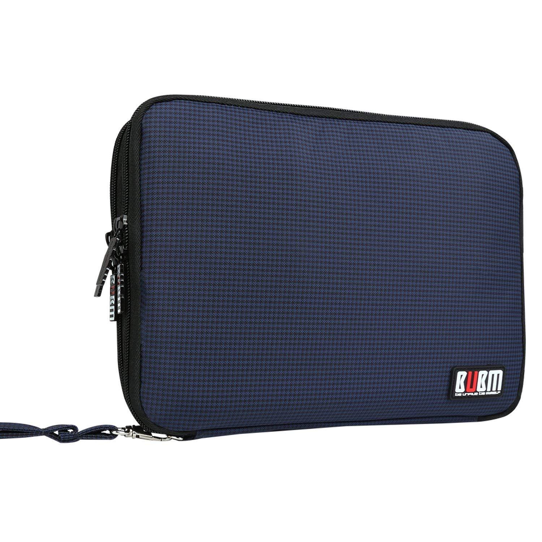 BUBM Organizador de Accesorios Eléctrica Estuche para Guardar Cables Memorias USB Bolsa con Cremallera para iPad Bolso de Doble Capas (L, Azul marino)