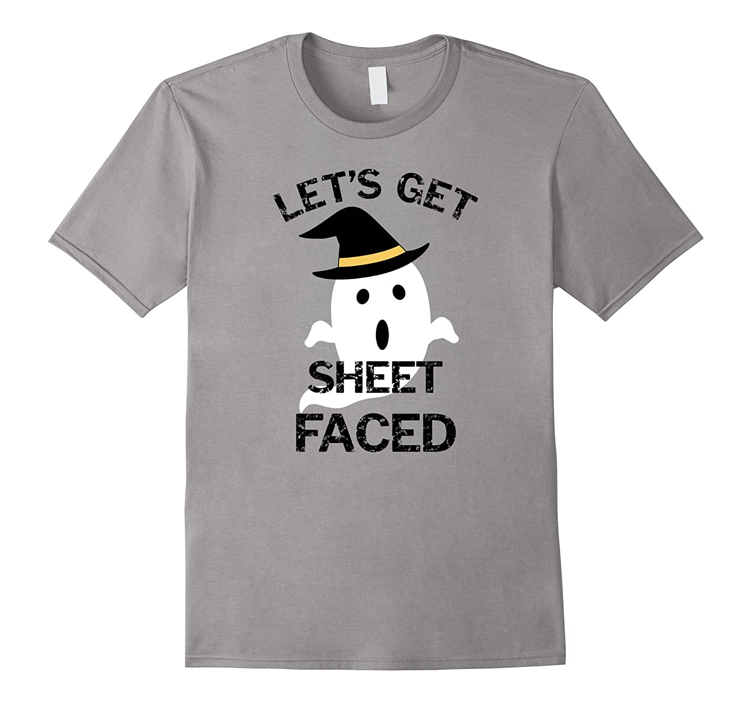 Let's Get Sheet Faced Funny Ghost Halloween T-Shirt-FL