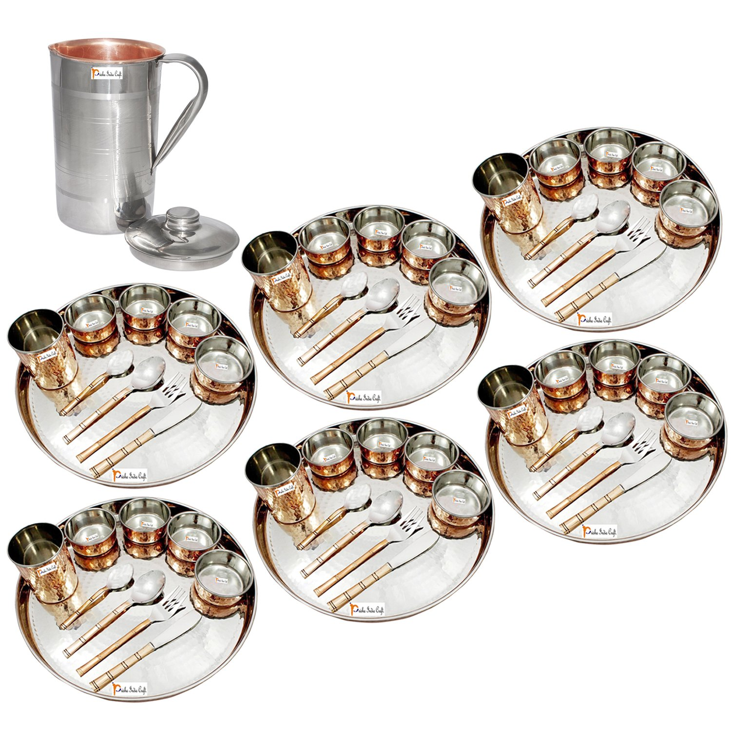 Prisha India Craft ® Set of 6 Dinnerware Traditional Stainless Steel Copper Dinner Set of Thali Plate, Bowls, Glass and Spoons, Dia 13'' With 1 Luxury Style Pitcher Jug - Christmas Gift