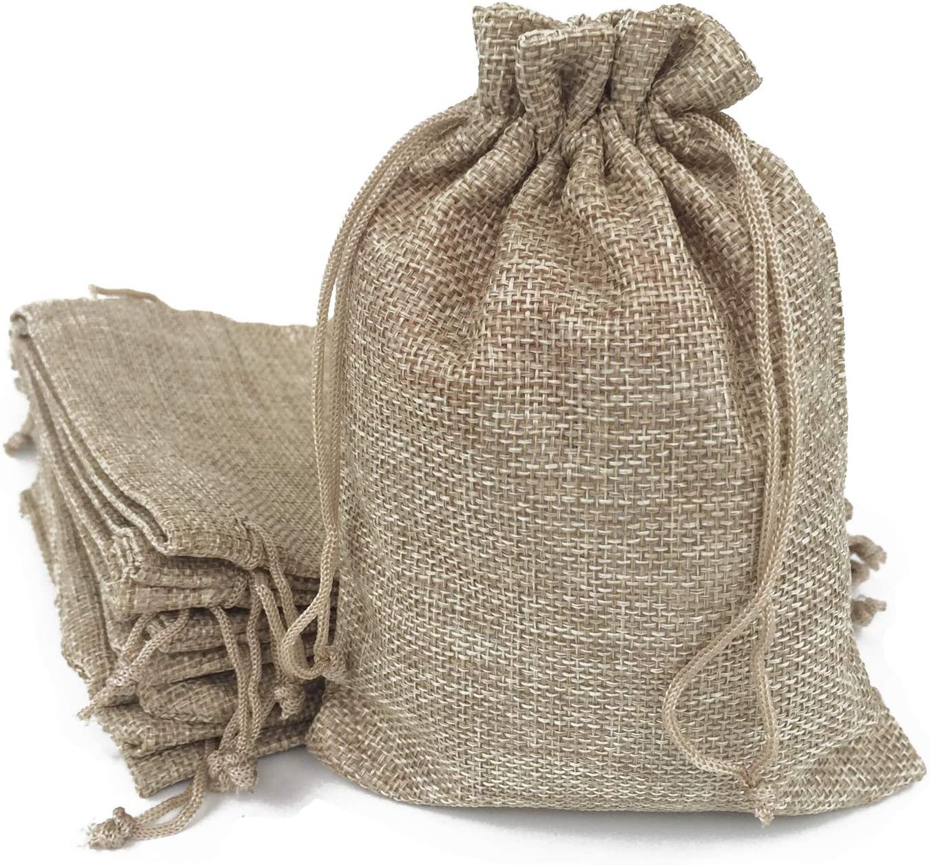 50PCS Burlap Bags with Drawstring Gift Jute bags Included Cotton Lining ( 6.7 X 9 Inch , #01 Natural)
