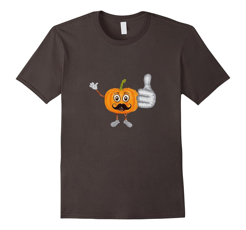 Halloween Pumpkin with Mustache and Big Thumbs Up Shirt-T-Shirt