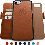 Dreem iPhone 7 Wallet Case with Detachable SlimCase, Fibonacci Luxury Series, Vegan Leather, RFID Protection, H/V Stands, Gift Box - Brown