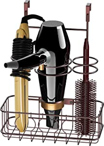 Simple Houseware Cabinet Door/Wall Mount Hair Dryer & Styling Tools Organizer Storage, Bronze