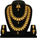 Gold Touch Indian Traditional Peacock Design Wedding Necklace Set for Women and Girls