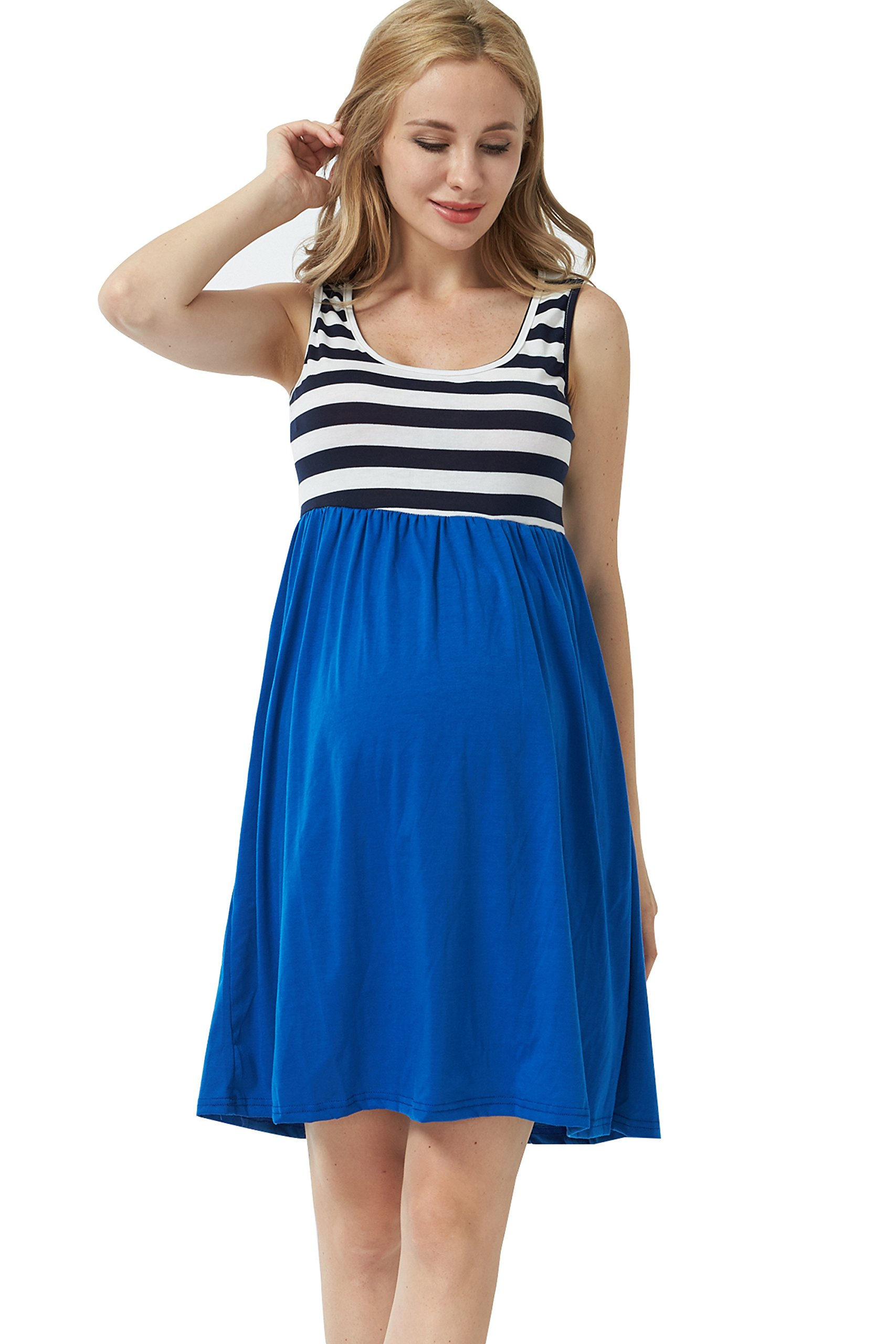 MANNEW Maternity Maxi Dress Pregnancy Tank Tops Knee Length Stitching Color Block Stripe Skirt (Blue, X-Large)