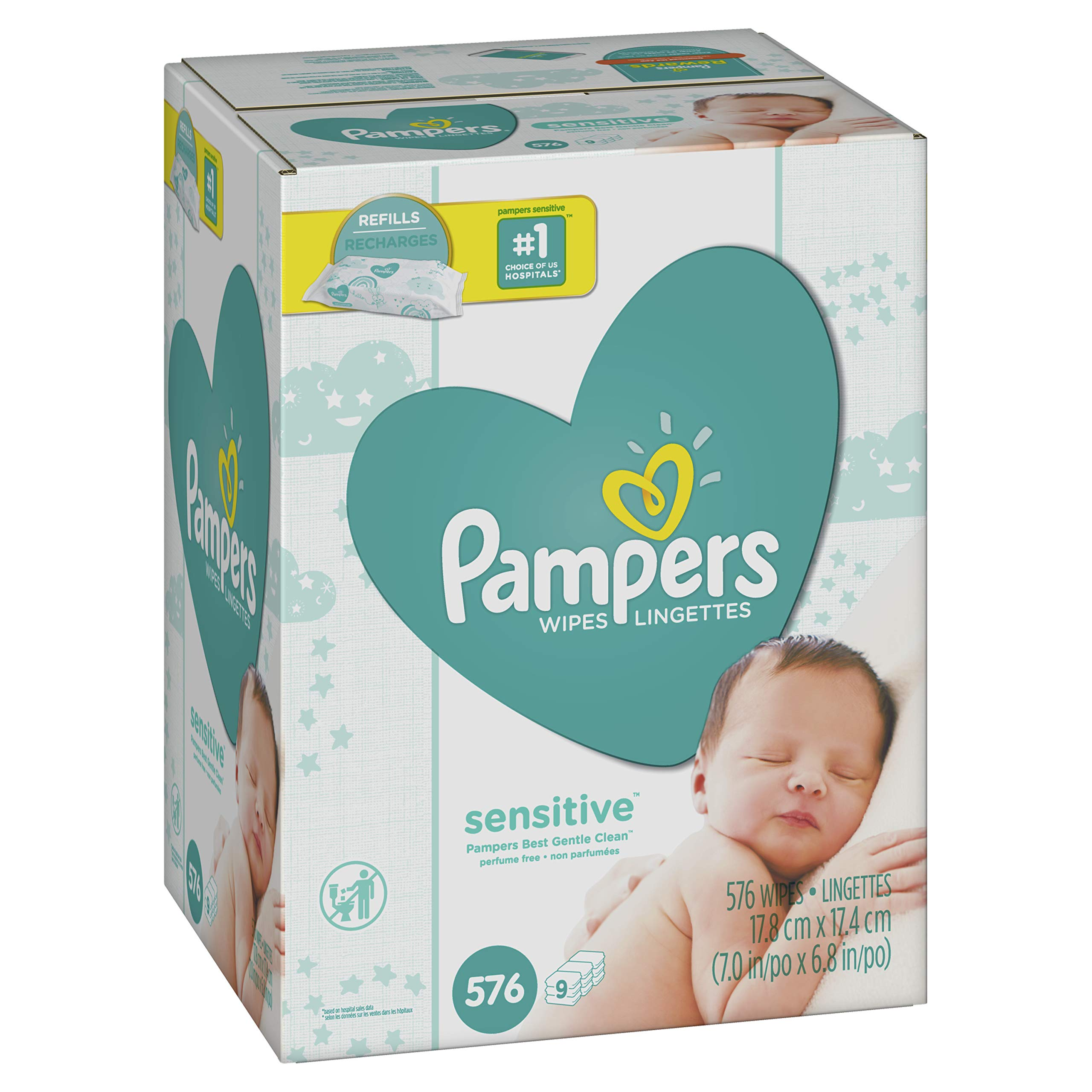Pampers Sensitive Water-Based Baby Diaper Wipes, 9 Refill Packs for Dispenser Tub -