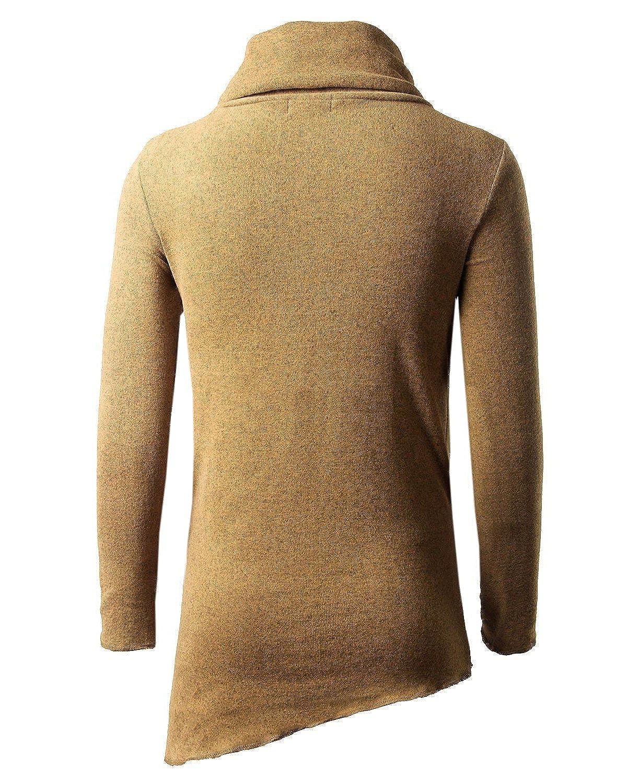 JOLIME Sweat Homme Sweat-Shirt Manches Longues Col Ch/âle Asymetrique Pull Chaud D/écontract/é