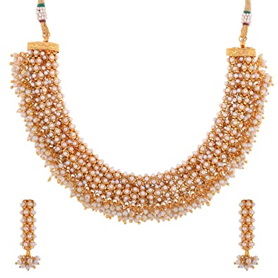 Buy 1 Gram Gold Plated South Indian Traditional Necklace Set With