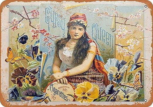 MNUT Cartel de Metal con Texto en inglés Gypsy Queen Cigars ...