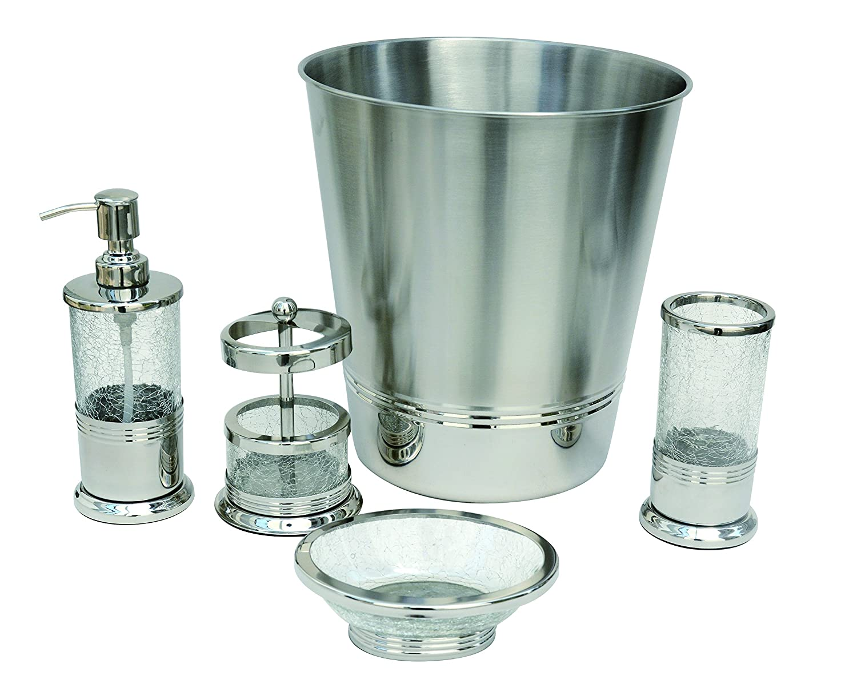 Aurora BathSense CGM1292 Crackled Glass Design Bathroom Toothbrush Holder Cup