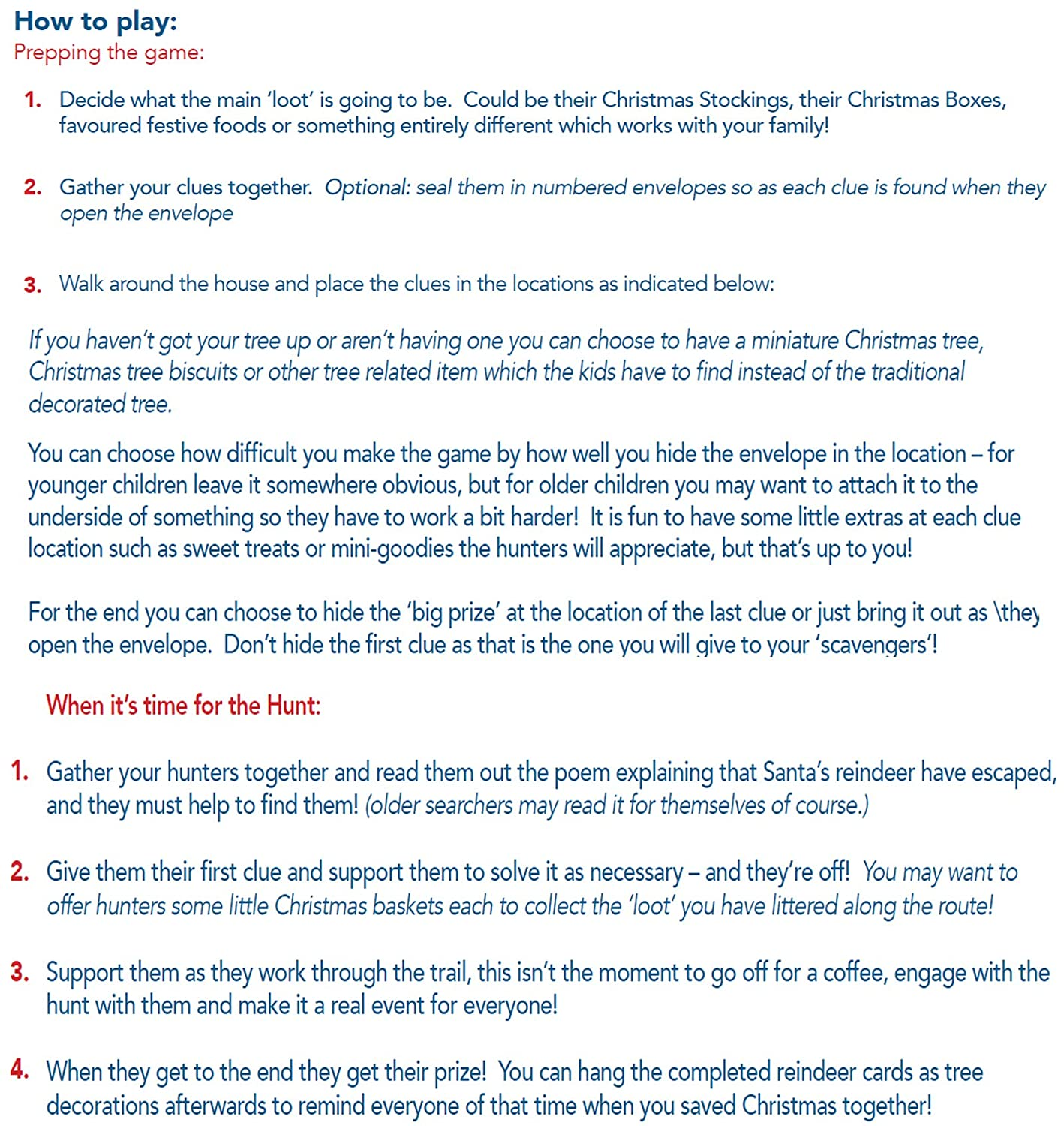 CHRISTMAS GAMES SCAVENGER HUNT QUEST - 10 postcard sized Clues for ...