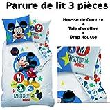 MICKEY - Parure de lit (3pcs) 100% Coton - Housse de Couette (140x200) + Taie d'Oreiller (63x63) + Drap housse (90x190) - Imprimé Expressions