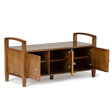 Simpli Home Warm Shaker Solid Wood Entryway Storage Bench, Honey Brown