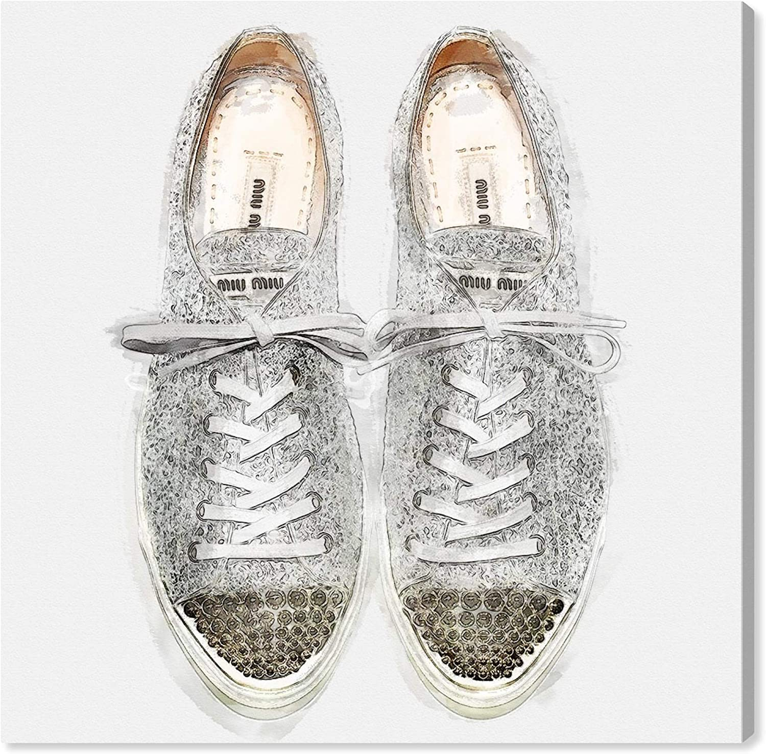 """The Oliver Gal Artist Co. Fashion and Glam Wall Art Canvas Prints 'Glitter Sneakers' Home Décor, 12"""" x 12"""", Silver, Gray"""