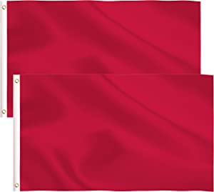 2 Pack Solid Red Flag,3x5 Ft DIY Solid Red Flag with Blank Flags Banner Polyester and Brass Grommets,Garden Decoration (Red)