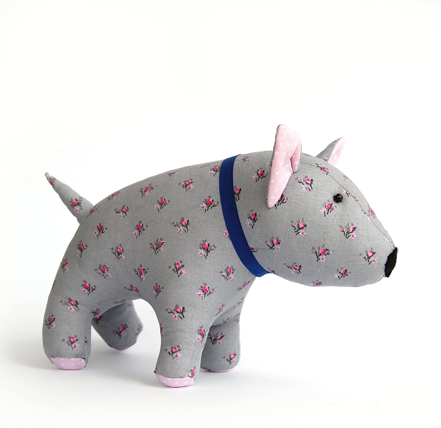 Bull Terrier Lover Gift Stuffed Toy Dog, Vintage cotton, Plush Puppy