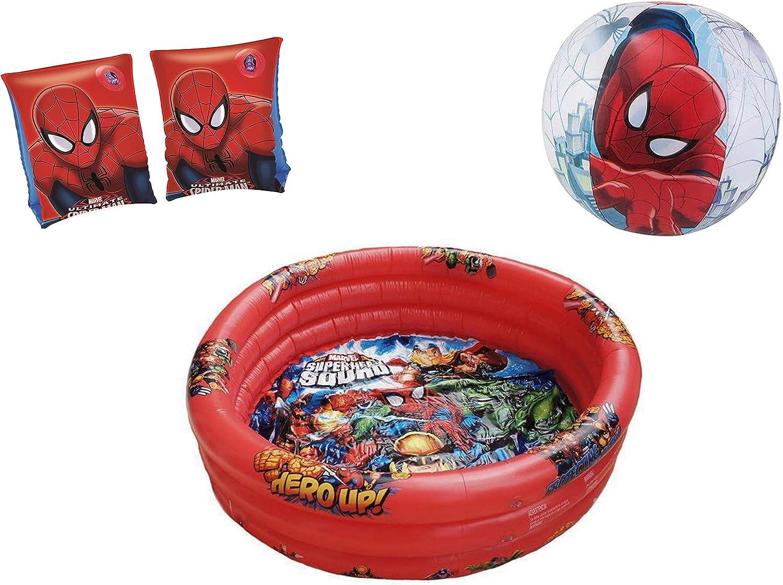 JOVAL® -Pack Piscina refrescante Infantil Superheroes Marvel de 90x30 centímetros de diámetro, con Manguitos y Pelota incluidos. del Personaje Spiderman para Jardin terraza o casa