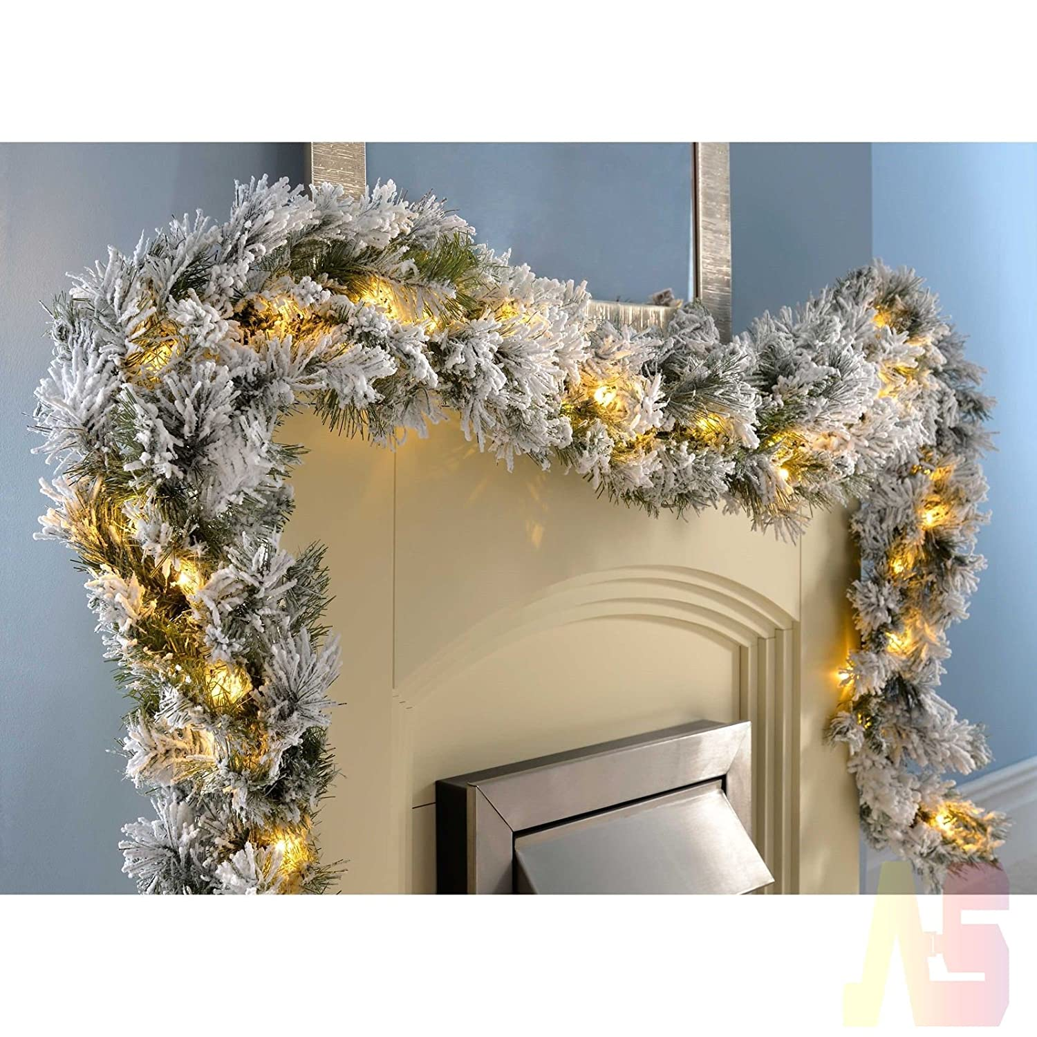 9ft Pre Lit Garland Snow Flocked Spruce Christmas Decoration 2.7m Xmas Gift LED Light up SalesCity