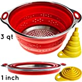 Combo of Collapsible Colander & Folding Funnel - Each Folds to 1 Inch. Silicone & Stainless Steel Kitchen Gadget. Camper / Trailer / RV Accessories for Organization and Storage Solutions. Red Strainer