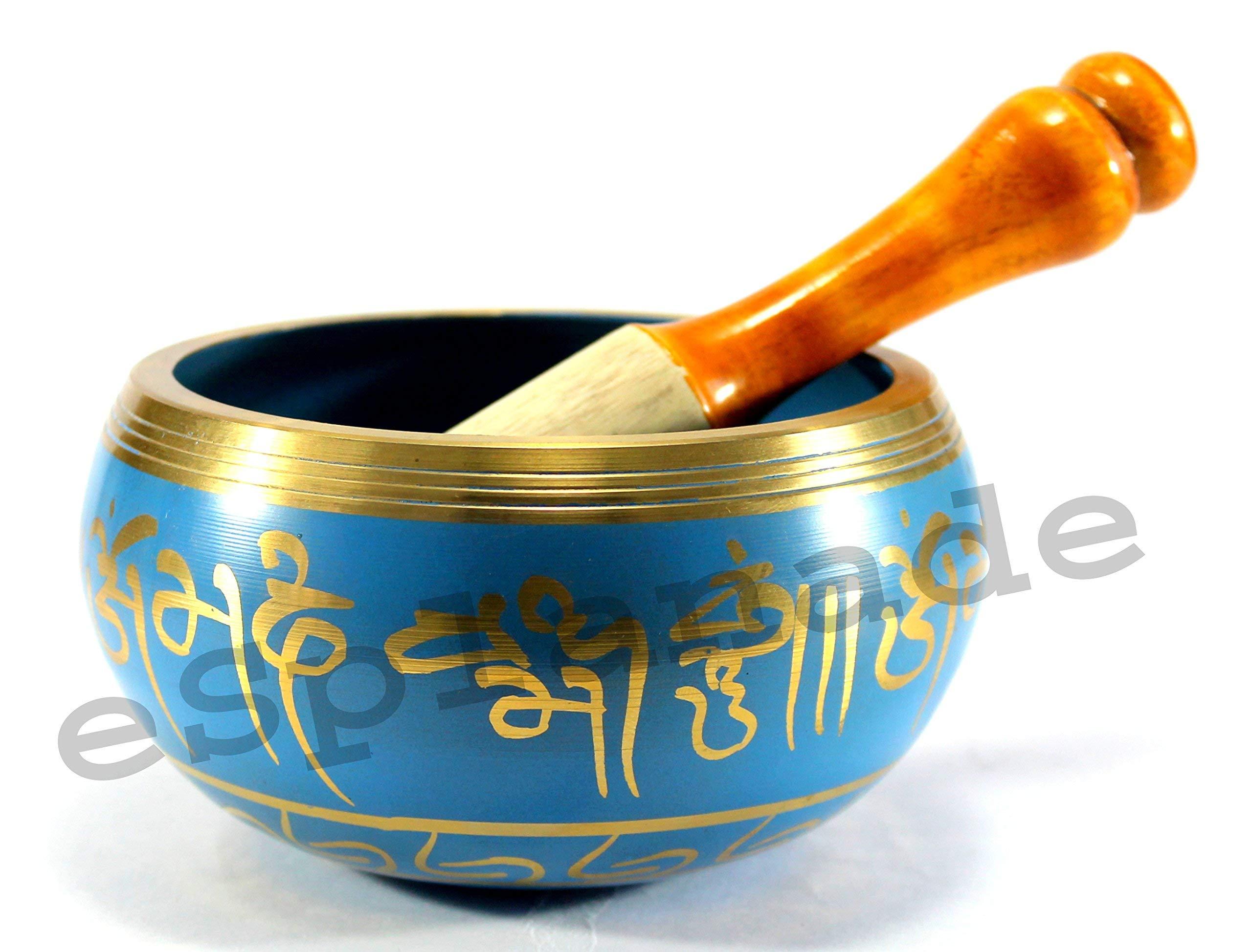 eSplanade - 5 inches - Singing Bowl Tibetan Buddhist Prayer Instrument With Striker Stick   OM Bell   OM Bowl   Meditation Bowl   Music Therapy by eSplanade