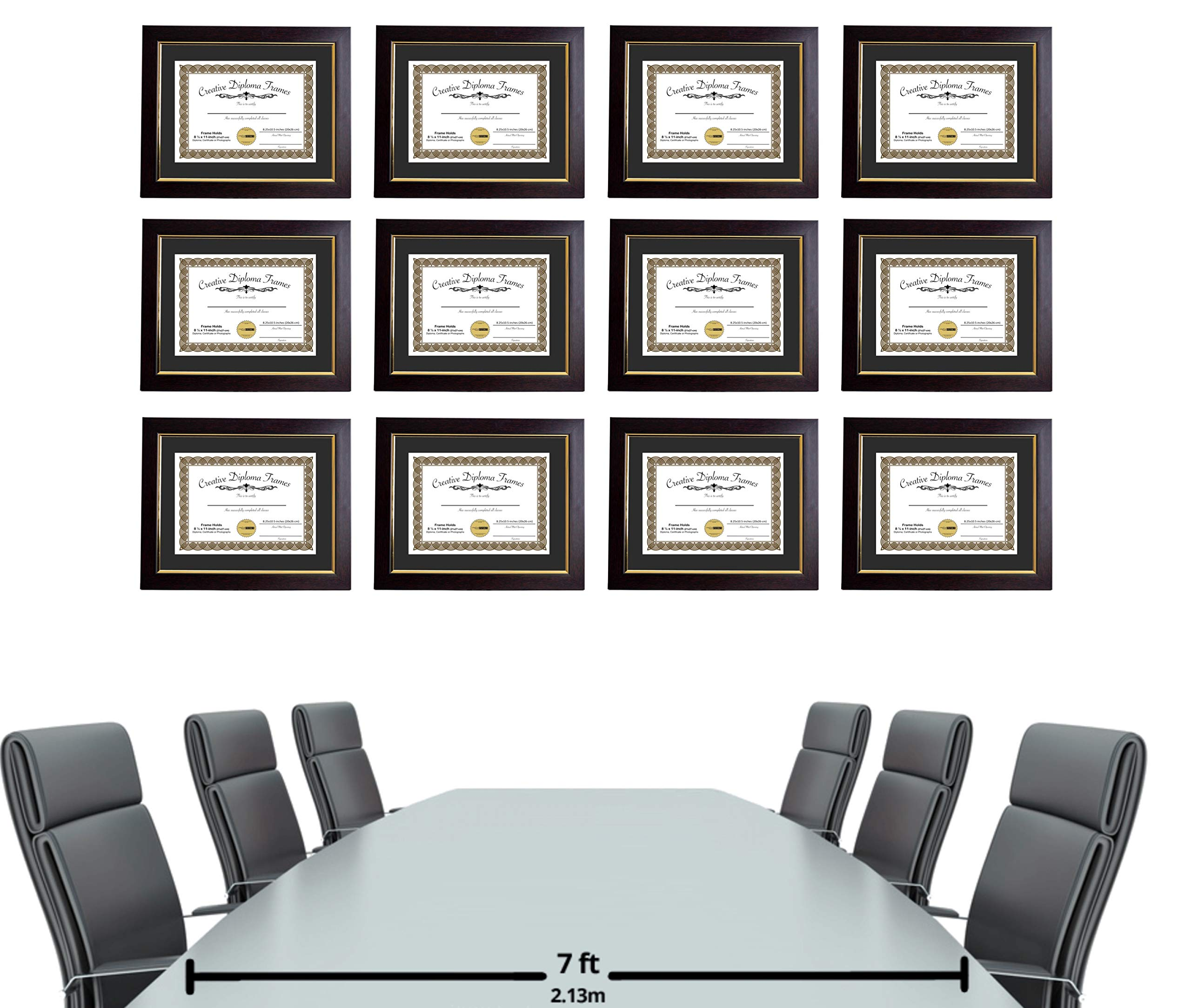 CreativePF [mhg024] 11x14-inch Matted Eco Mahogany Diploma Frame Gold Lip with Black/White Core Mat Holds 8.5x11-inch Media, with Installed Hangers (4-Pack) by Creative Picture Frames (Image #5)
