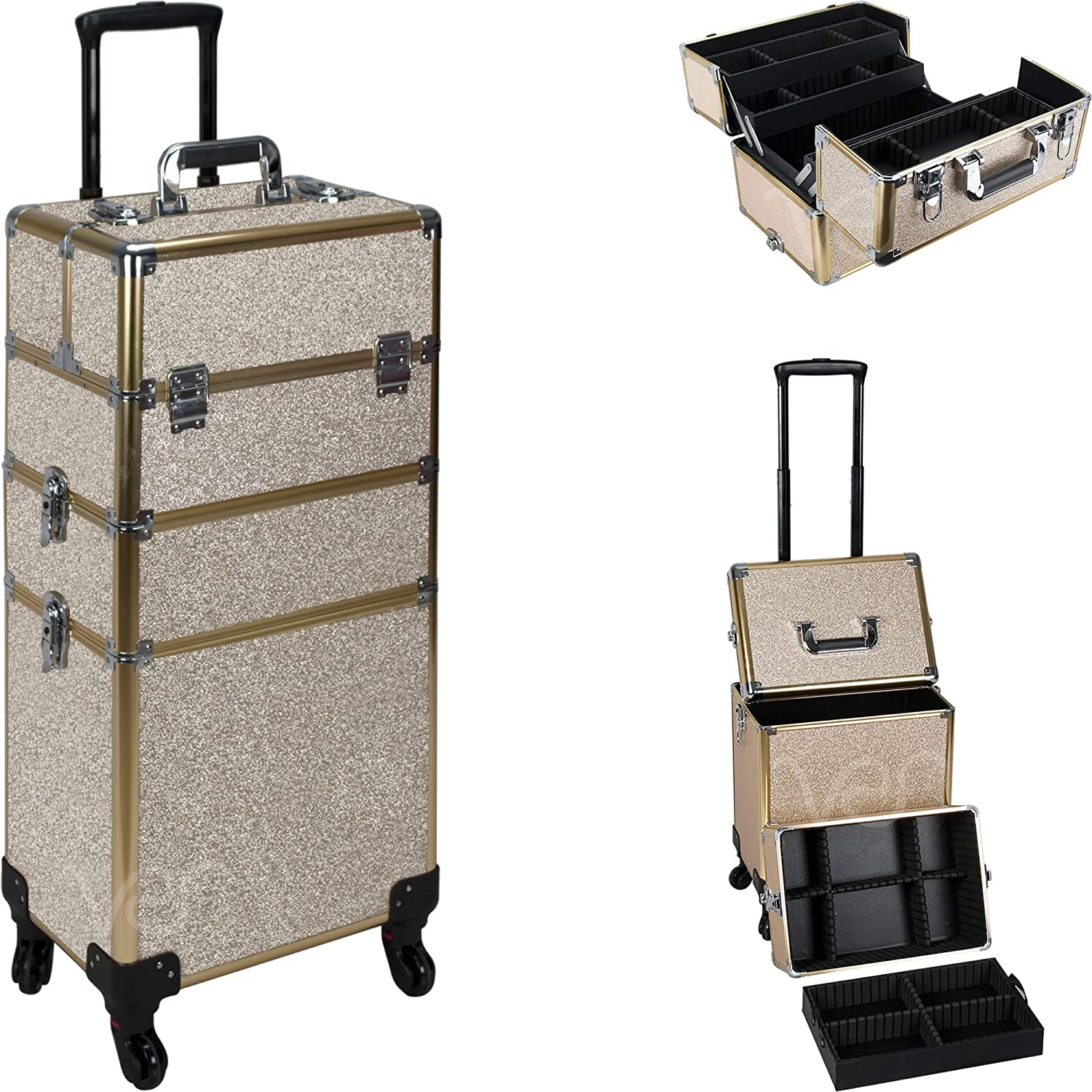 Ver Beauty 7-in-1 Professional 4 Wheels Removable Rolling Cosmetic Makeup Artist Train Case Organizer Travel Adjustable Dividers – Vr6506, Champagne Gold Glitter